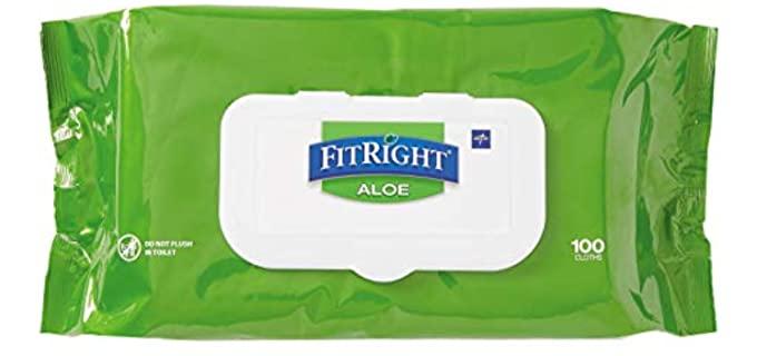 Medline FitRight - Bathing Wipes for the Elderly