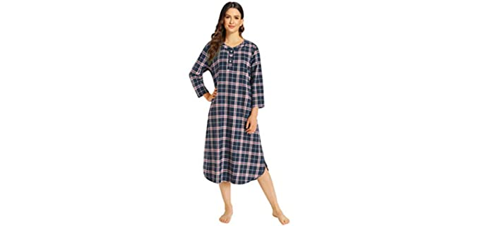 Latuza Plaid - Flannel Nightgown for Elderly Persons